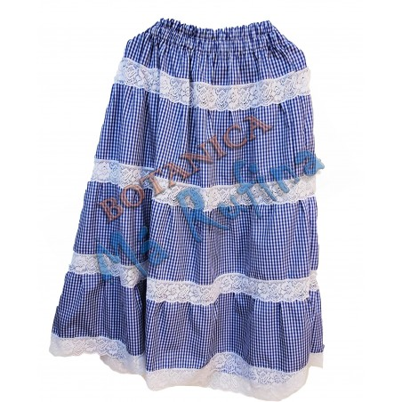 Blue / White Ghingham Skirt Yemaya
