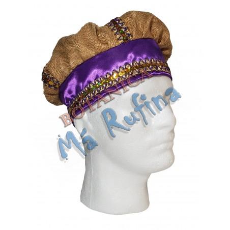 Purple & Burlap Hat of San Lazaro / Babalu Aye